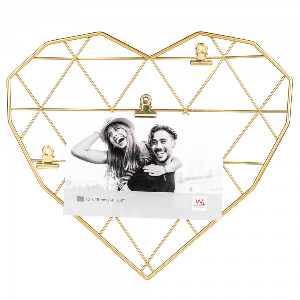 Wired Heart, Drahtherz mit 3 Clips, gold